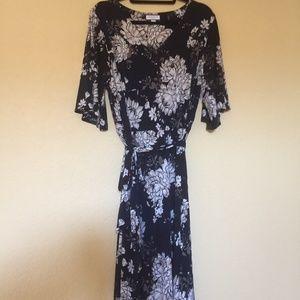 Charter Club Navy Blue Floral Midi Dress, plus 2x